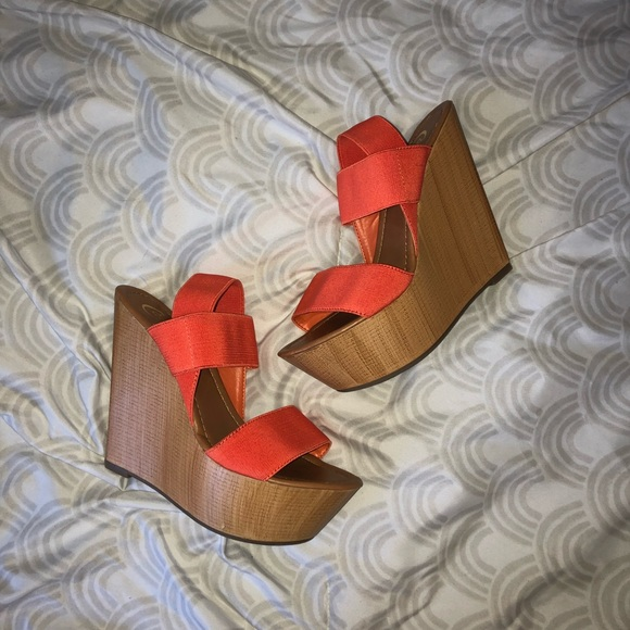 Candie's Shoes - tan wedges with orange straps